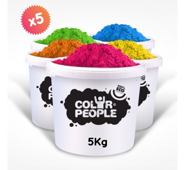 PACK OF 5 X 5 KG HOLI POWDER BUCKETS