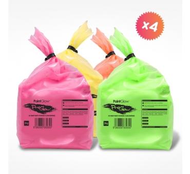 4 sacs de 2kg de poudre Holi FLUO UV NEON