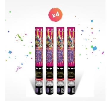 4 canons à confettis 40cm