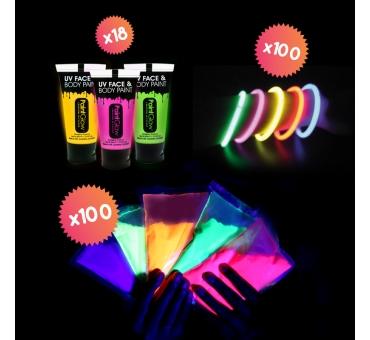 Pack HOLI FLUO Party pour 100 personnes
