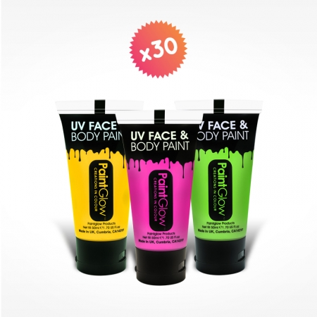 12 tubes 50ml maquillage fluo
