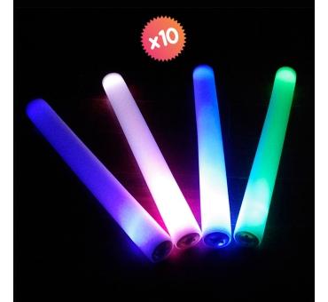 10 tubes en mousse avec LED