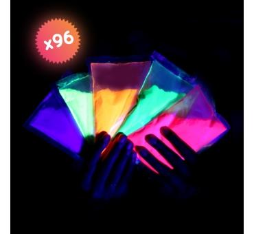 96 sachets de poudre FLUO UV Néon