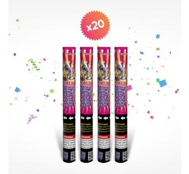 20 canons à confettis 40cm